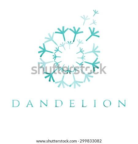 Illustration of concept dandelion. Vector logo  - stock vector
