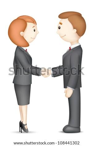 illustration of confident 3d business people in vector in handshake gesture - stock vector