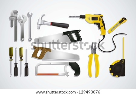 Illustration of Construction Equipment, Construction Icons, Site, worker, tools, vector illustration - stock vector