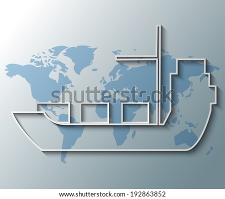 Illustration of container ship with world map background - stock vector