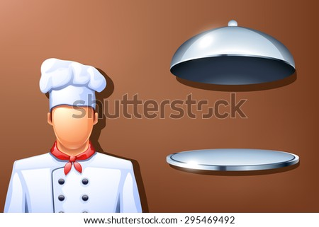 illustration of cook and opened plate on brown background - stock vector