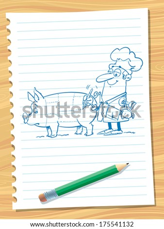 Illustration of cook preparing to slaughter pig - stock vector
