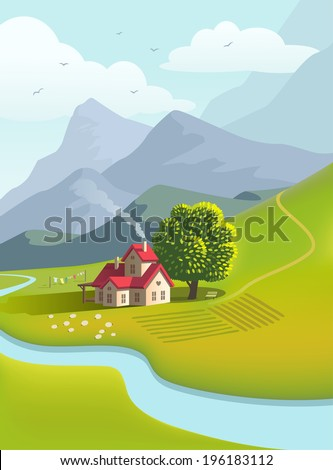Illustration of country house with red roof