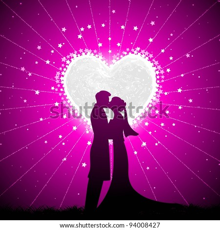 illustration of couple kissing in night view with heart shape moon backdrop - stock vector