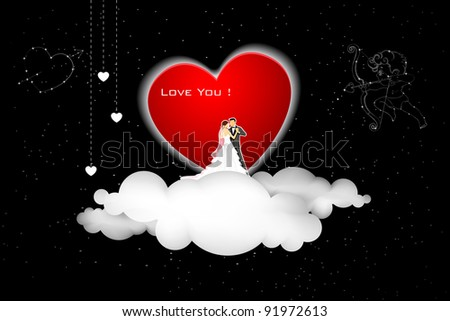 illustration of couple on cloud with cupid in sky - stock vector