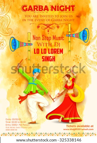 illustration of couple playing Dandiya in disco Garba Night poster - stock vector