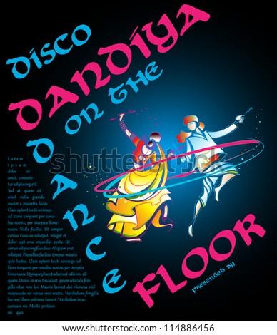 illustration of couple playing garba in disco dandiya poster - stock vector
