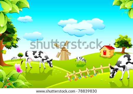 illustration of cow grazing in grass land with windmill and hut in background - stock vector