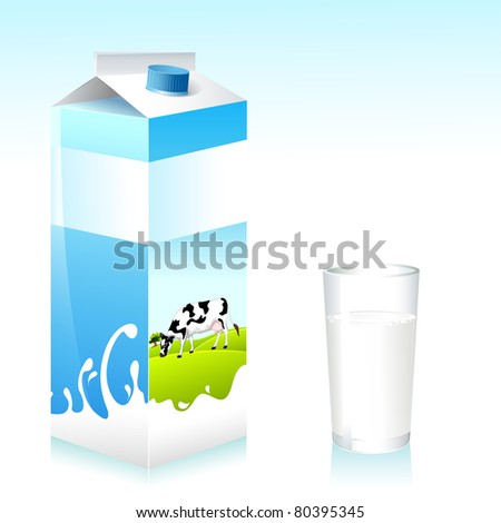 illustration of cow on carton of milk and glass - stock vector