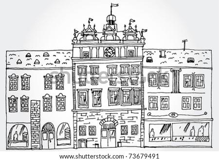 Illustration of Cozy Street - stock vector