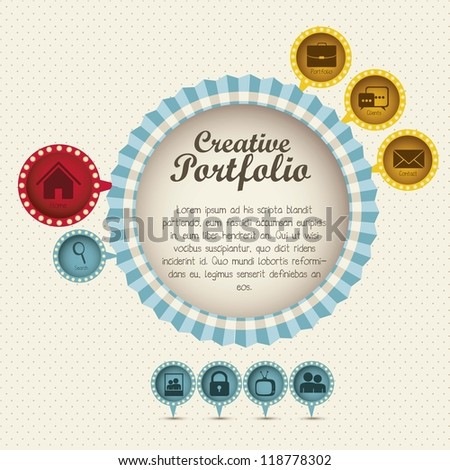 Illustration of  creative portfolio. Portfolio with icons. Vector illustration - stock vector