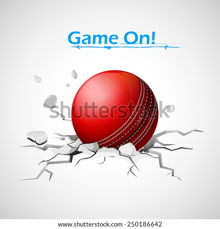 illustration of cricket ball falling on ground making crack - stock vector