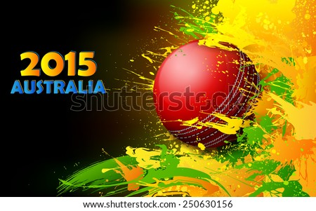 illustration of cricket ball in grungy abstract background - stock vector