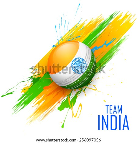 illustration of cricket ball in grungy India background - stock vector