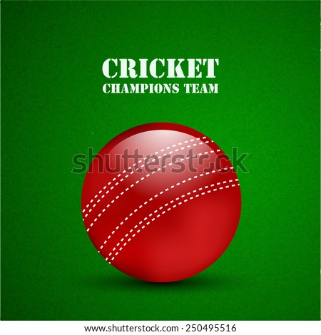 Illustration of Cricket ball on Grass for Cricket background