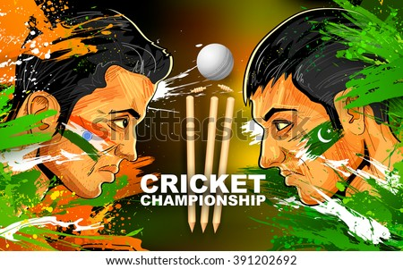 illustration of cricket player of different participating countries showing revenge - stock vector
