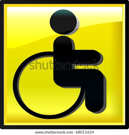 Illustration of cripple sign. Button. Glass. Vector - stock vector