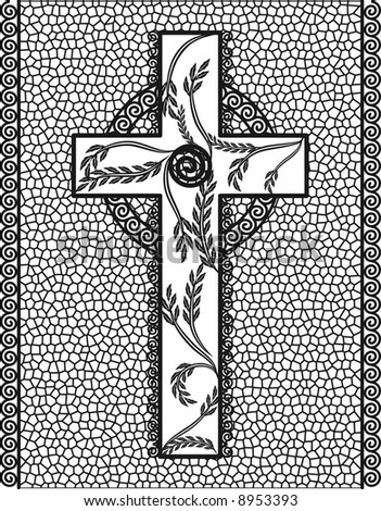 Illustration of cross with stained glass frame.