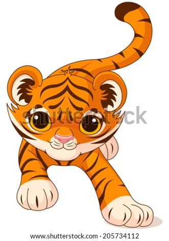 Illustration of crouching cute baby tiger - stock vector