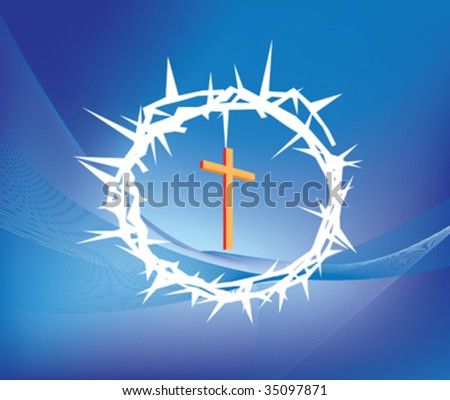 illustration of crown of thorns and christian cross - stock vector