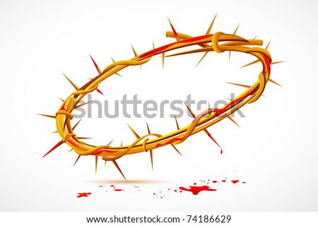 illustration of Crown of thorns with dripping blood - stock vector