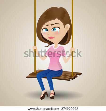 illustration of crying girl sitting on swing - stock vector