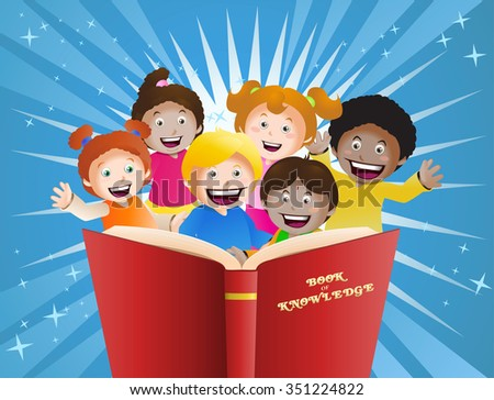 illustration of  cultural children reading big book in front of glowing back ground - stock vector