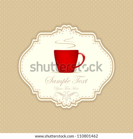 illustration of cup of hot coffee cup on patterned background - stock vector