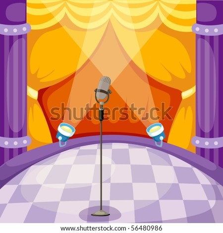 illustration of curtain and microphone on a stage - stock vector