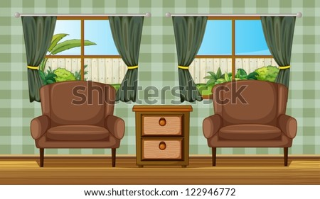Illustration of cushion chairs and side table in a room - stock vector