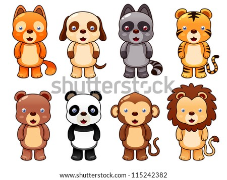 illustration of cute animal set vector - stock vector