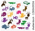 Illustration of Cute Animals. wildlife and farm animals  icons. vector illustration - stock vector