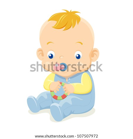 illustration of Cute baby vector - stock vector
