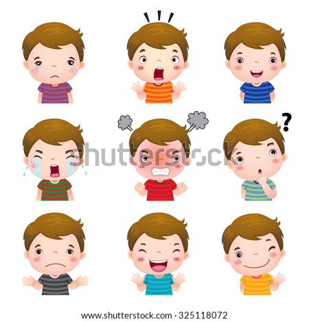 Illustration of cute boy faces showing different emotions - stock vector