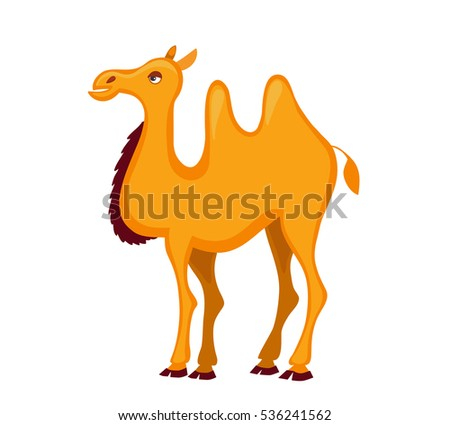Illustration of cute  camel cartoon. Vector illustration isolated on white background.