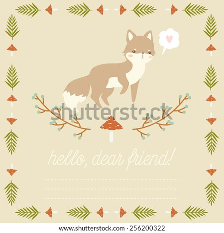 illustration of cute cartoon baby fox with leaves, berries, and mushrooms frame on pastel background with hello friend text message. can be used for greeting cards or birthday invitations - stock vector