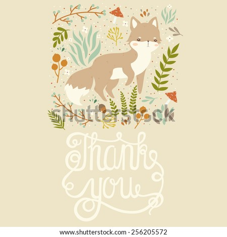 illustration of cute cartoon baby fox with leaves, berries, and mushrooms on pastel background with thank you text message. can be used for greeting cards or birthday invitations - stock vector