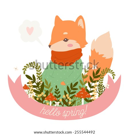 illustration of cute cartoon baby fox with ribbon, leaves, berries, mushrooms and flowers with hello spring text message on white background. can be used for greeting cards or birthday invitations - stock vector