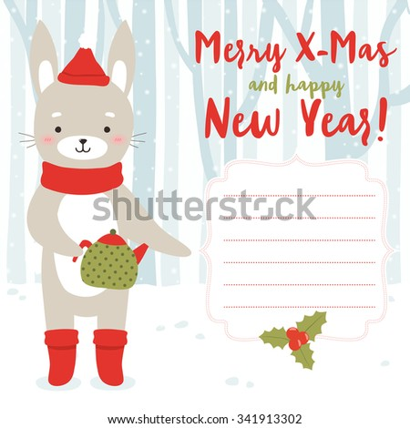 illustration of cute cartoon bunny with teapot in the winter forest and with merry christmas text message and with frame. can be used for winter holidays greeting cards and party invitations - stock vector