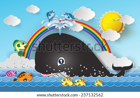 Illustration of cute cartoon whale.paper cut style. - stock vector