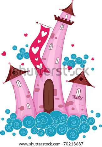 Illustration of Cute Castles Surrounded by Clouds - stock vector