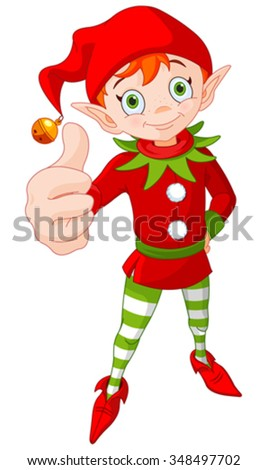 Illustration of cute Christmas elf doing a thumb up and smiling - stock vector