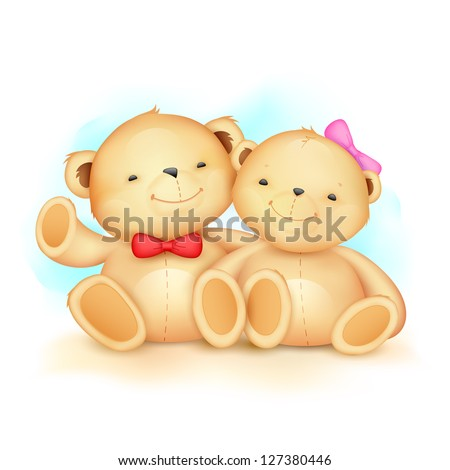 illustration of cute couple of teddy bear waving hand - stock vector