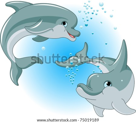 Illustration of cute Dolphins couple - stock vector