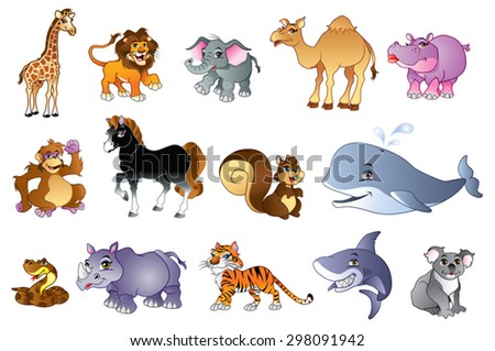 Illustration of cute forest and wild animals - stock vector