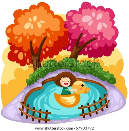 illustration of cute girl playing duck boat - stock vector