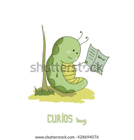 Illustration of cute green caterpillar reading a newspaper.Cute worm. Curious bug. - stock vector