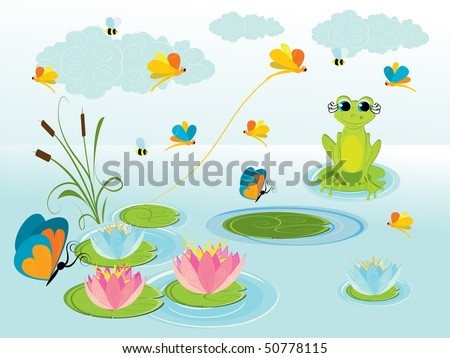illustration of cute green frog with background