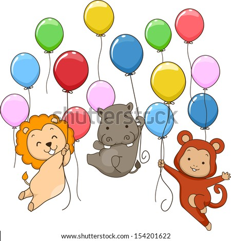 Illustration of Cute Jungle Animals Holding on To Colorful Balloons - stock vector