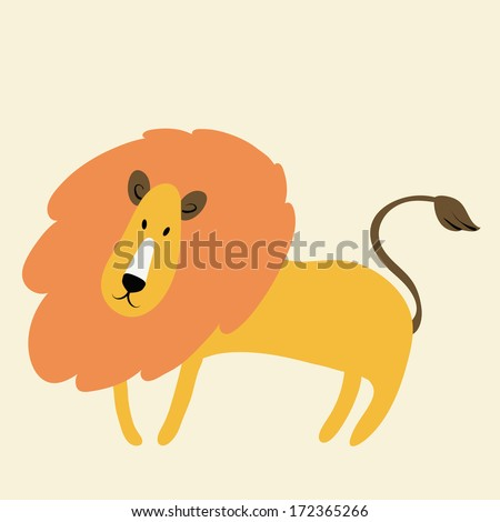 Illustration of cute lion - stock vector